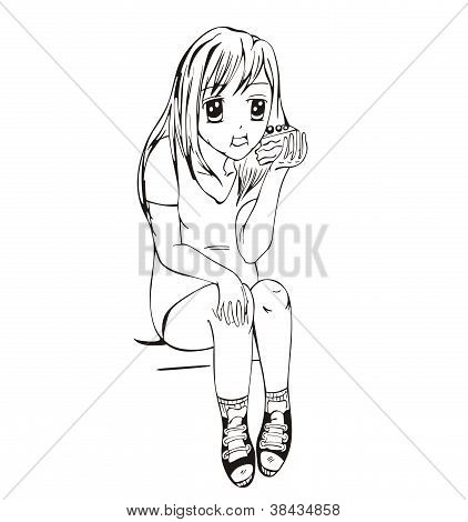 Anime Girl Eating Cake