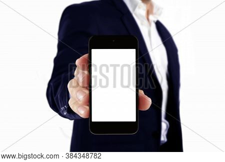 Man In Suit Holding Blank Smartphone Isolated On White Background