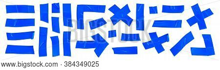 Blue Duct Repair Tape Set Isolated On White Background. Realistic Blue Adhesive Tape Pieces For Fixi