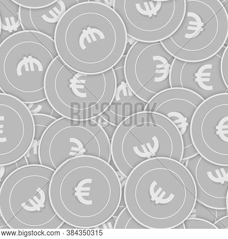 European Union Euro Silver Coins Seamless Pattern. Neat Scattered Black And White Eur Coins. Success