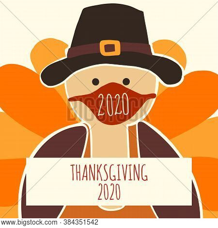 Greeting Card Template Thanksgiving 2020. Fully Editable Vector Illustration. Turkey Wearing A Face