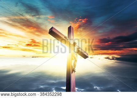 Crucifixion , Resurrection Of Easter Sunday Concept . Colorful Sky And Sunrise. Natural Landscape Of