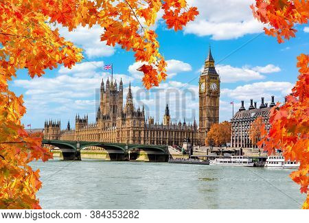 Big Ben Tower With Houses Of Parliament And Westminster Bridge In Autumn, London, Uk