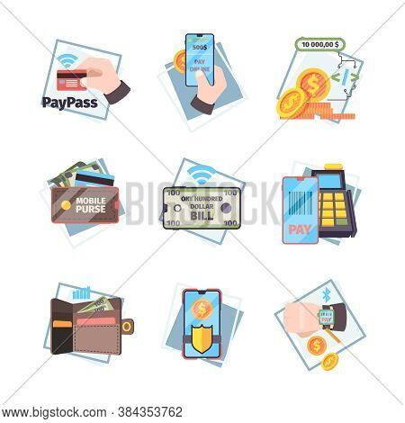 Online Payment Icons. Nfc Innovative Mobile Transaction Internet Banking Cards Money Vector Concept