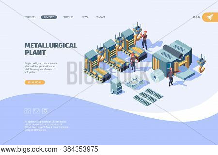 Steel Factory Landing. Metallurgy Manufacturing Industry Vector Business Web Page Template. Factory