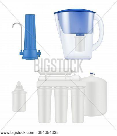 Water Filter. Kitchen Treatment Aqua Purification Liquid Filtration Systems Vector Realistic Templat