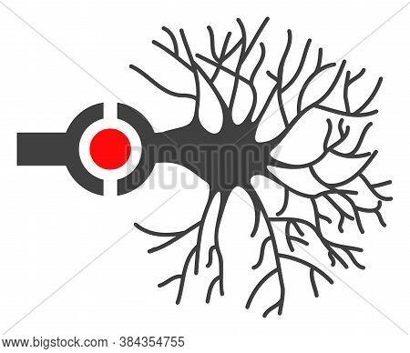 Neuron Digital Interface Icon On A White Background. Isolated Neuron Digital Interface Symbol With F