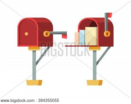 Open Mailbox. Post Letterbox With Envelopes Vector Isolated Containers. Container Post For Mail And