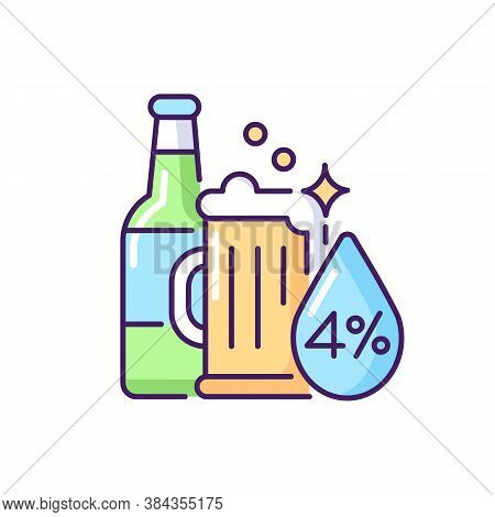 Alcohol Rgb Color Icon. Beverage In Bottle. Spirit With Alcoholic Percent. Beer Glass. Drink In Mug.