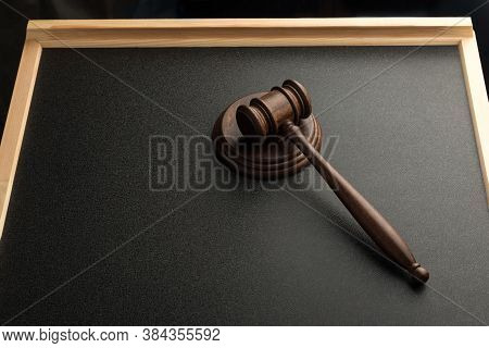 Wooden Judge Gavel And Sound Board In Court. Law And Justice. Jurisprudence.