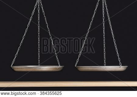 Scales Are In Balance. Black Background And Wooden Shelf. Balance Concept. Front View. Copy Space