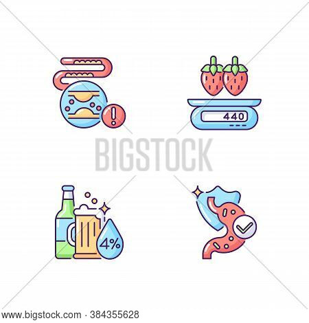 Foodstuff Rgb Color Icons Set. Cholesterol In Blood Disease. Serving Information. Strawberry On Scal