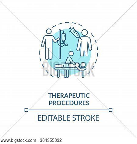 Therapeutic Procedures Concept Icon. Medical Aid, Diseases Treatment Idea Thin Line Illustration. Cu