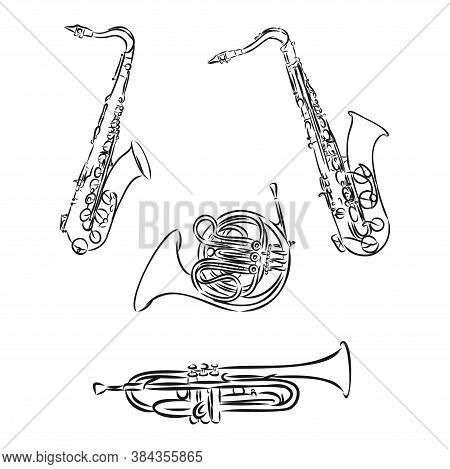Doodle Musical Instruments Set, Vector, Set Of Musical Instruments, Vector Sketch Illustration