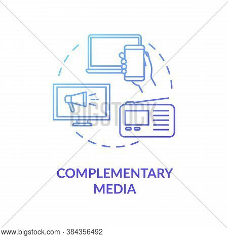 Complementary Media Concept Icon. Social Network Advertising Idea Thin Line Illustration. Digital Ma
