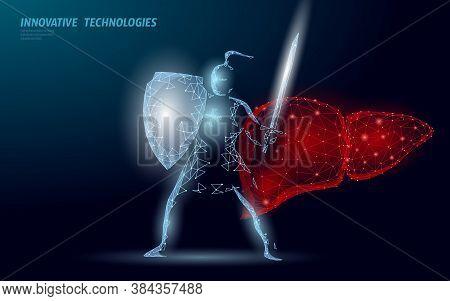 Low Poly 3d Human Liver Khight Shield Protect. Medicine Recovery Technology Drug Medicine Concept. V