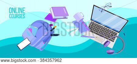Online Courses Or Webinar Vector Illustration With Flying Laptop, Bag Pack, Stationery, Books. Digit