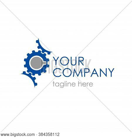 Vector Logo With Gears Transmission For Industrial And Engineering Company