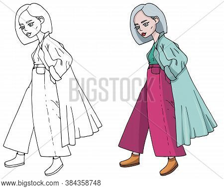 Vector Fashion Girl In Trendy Colors. Cartoon Drawing Style. Bright And Fashionable Character