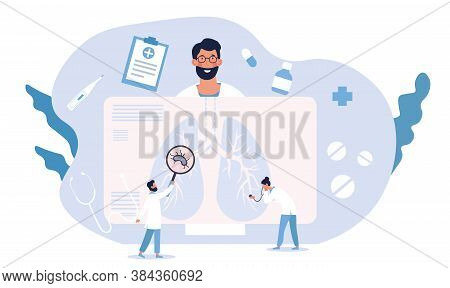 Pulmonary Disease Concept Showing Patient Having His Lungs Examined By Two Doctors Showing A Potenti