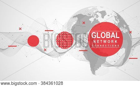 Global Network Connection. World Map Point And Line Composition Concept Of Global Business. Internet
