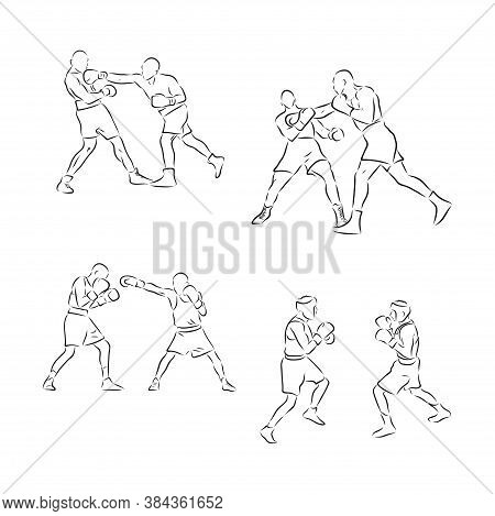 Boxing. Boxers Fight Duel Isolated On A White Background. Black And White Graphics. Vector Illustrat