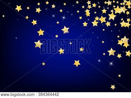 Yellow Celebration Stars Vector Blue Background. Falling Glow Background. Space Illustration. Golden