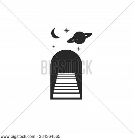 Astrology Logo Doorway With Stairs, Moon, Planet Saturn And Stars As A Astrological Magic Symbol Bla