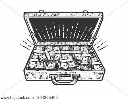 Suitcase With Cash Dollars Sketch Engraving Vector Illustration. T-shirt Apparel Print Design. Scrat