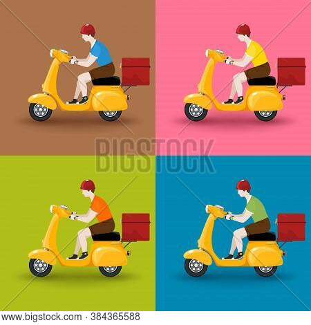 Young Guy Rides A Scooter, Set Of Orange Vintage Scooters With Boxes For Food Delivery Isolated On C