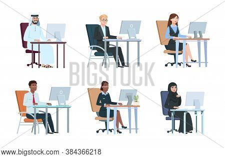Business People Working At Computer. Isolated Work Agency Persons, Managers Cartoon Characters. Mode