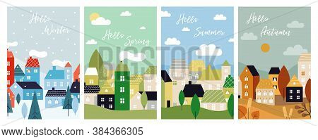Four Season Cards. Autumn Winter Spring Summer With City Landscape. Seasonal Poster, Christmas Time.