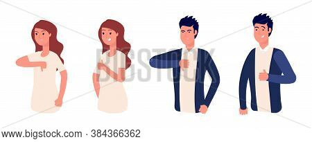 Like Or Dislike. Thumb Up, Yes Or No. Isolated Man Woman Social Media Gesture. Communication, Good A
