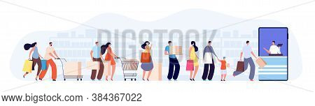 Customers People Queue. Client Characters, Online Shop Seller Or Cashier. Waiting Line In Grocery St