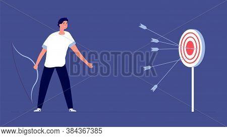 Arrow Past Target. Upset Man, Business Failure Metaphor. Bad Startup, Fail Investments Or Financial