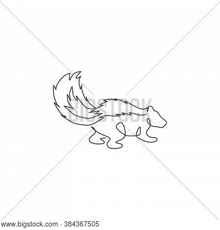 One Single Line Drawing Of Adorable Striped Skunk For Company Logo Identity. Sprayer Liquid With Sti