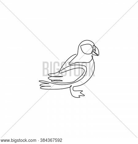 One Continuous Line Drawing Of Cute Puffin For Company Logo Identity. Pelagic Seabirds Mascot Concep