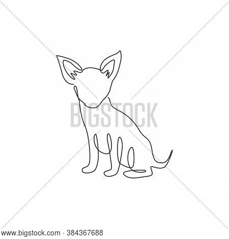 Single One Line Drawing Of Funny Chihuahua Dog For Company Logo Identity. Purebred Dog Mascot Concep