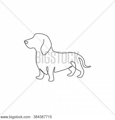Single Continuous Line Drawing Of Cute Dachshund Dog For Logo Identity. Purebred Dog Mascot Concept