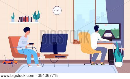 Gamers At Room. Couple Play Video Games, Digital Entertainment Addiction. Stay Home, Man Woman Spend