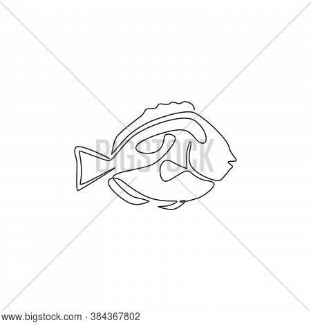 Single One Line Drawing Of Funny Blue Tang Fish For Aquatic Company Logo Identity. Beauty Surgeonfis