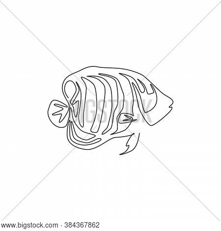 Single One Line Drawing Of Funny Regal Angelfish For Company Logo Identity. Beautiful Angel Fish Mas