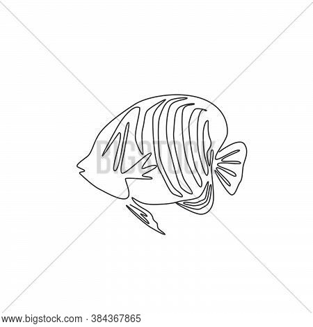Single Continuous Line Drawing Of Adorable Regal Angelfish For Company Logo Identity. Exotic Angel F