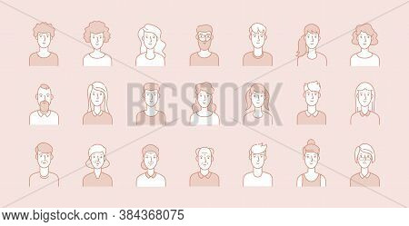 People Avatars. Modern Business Corporate Faces, Line Male Female Portraits. Young, Adult And Elderl