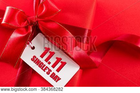 Online Shopping Of China, 11.11 Single's Day Sale Concept. White Paper Tag With Text 11.11 Single's