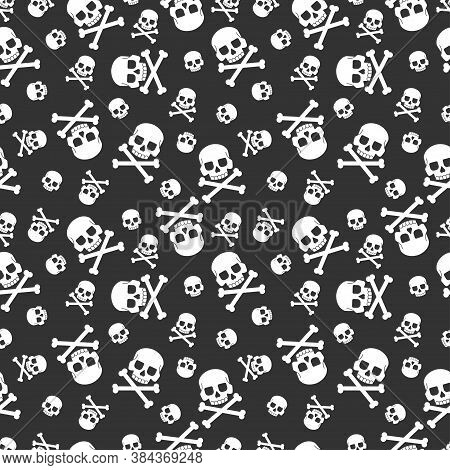 Skull And Crossbones Vector Seamless Pattern For Holiday Halloween. Background For Wallpaper, Wrappi
