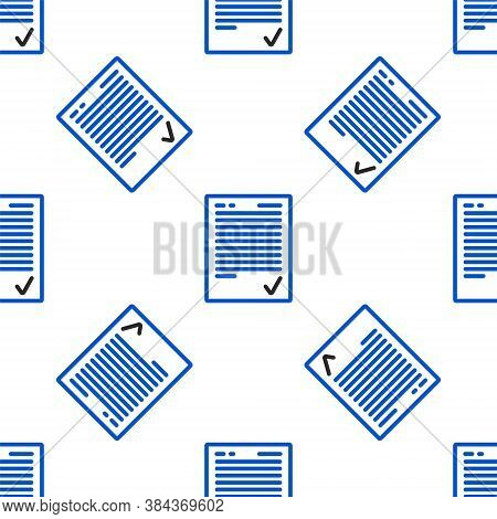 Line Exam Sheet With Check Mark Icon Isolated Seamless Pattern On White Background. Test Paper, Exam