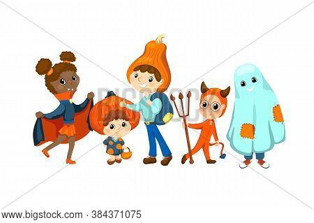 Happy Kids In Halloween Costume Vector Illustration On White Background. Children Friends Dressed Fo