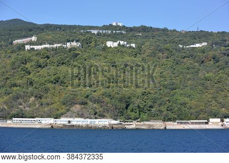 Yalta, Crimea - September 6, 2017: View Of The City Of Yalta From The Sea