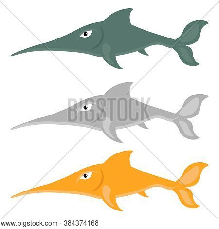 Set Of Vector Swordfish. Illustration On The Theme Of The Inhabitants Of The Seas And Oceans.